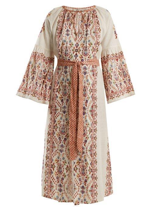D'ascoli Anatolia Floral-print Cotton Dress In Red Multi