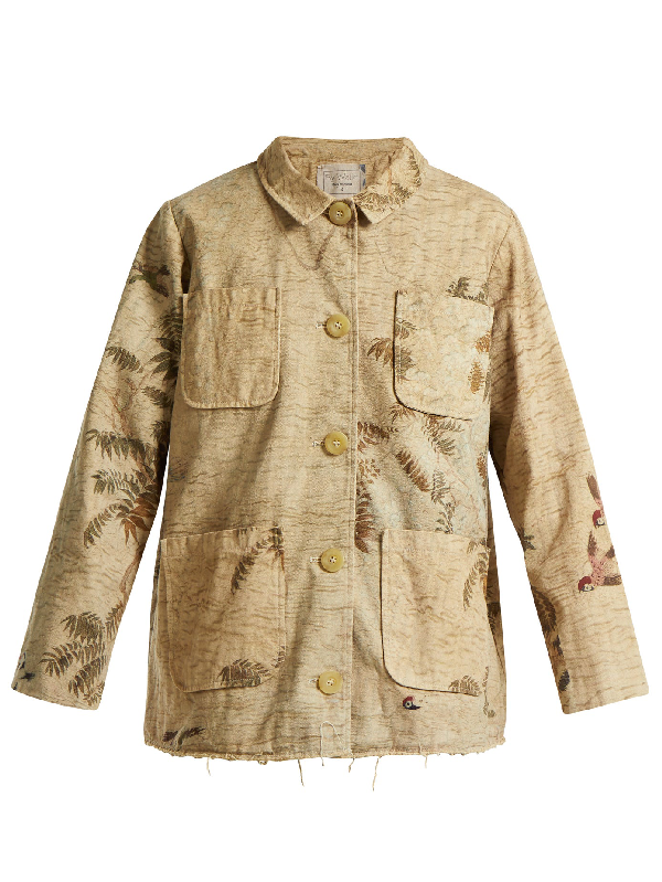 By Walid Hazy-jungle Print Cotton-canvas Jacket In Beige Print