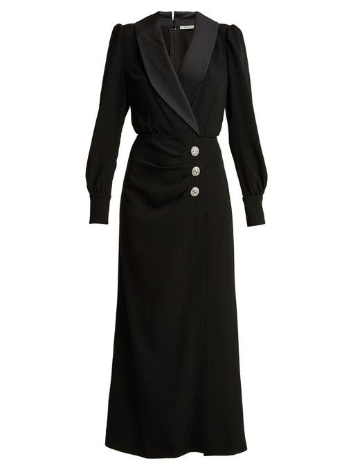 Alessandra Rich Hollywood Crystal-embellished Crepe And Satin Maxi Dress In Black