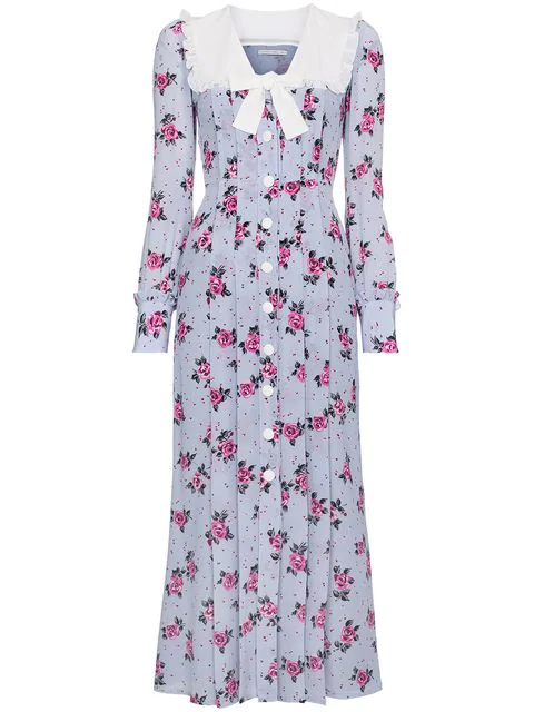 Alessandra Rich Rose-print Frill-trimmed Silk Dress In Pink