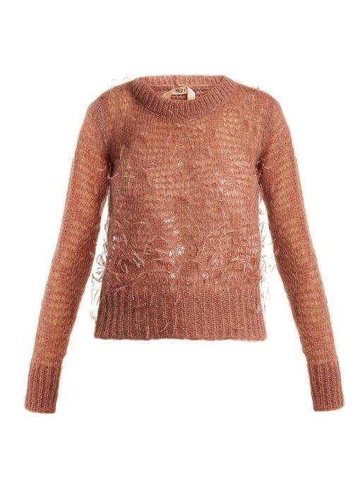 N°21 Ostrich-feather Embellished Mohair-blend Sweater In Light Pink