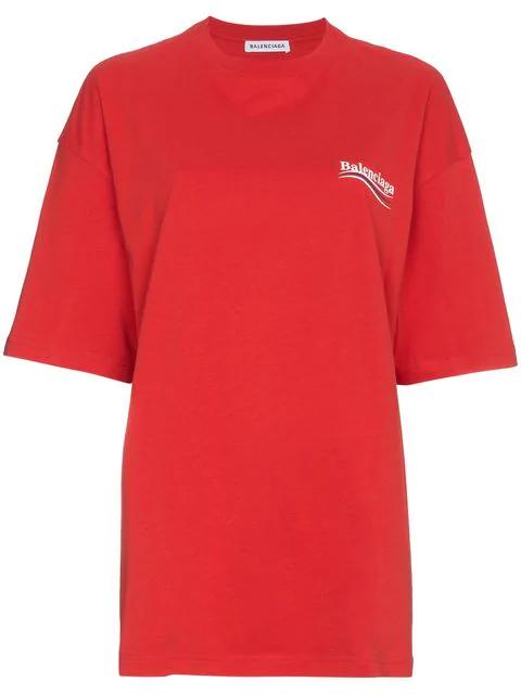 5cf1a9bf45ca BALENCIAGA. Crewneck Short-Sleeve Oversize Campaign-Logo Cotton T-Shirt in  Red