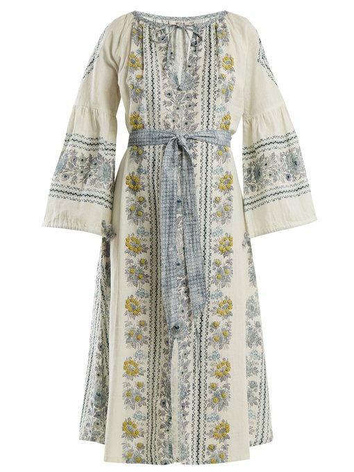 D'ascoli Flamenco Floral-print And Embroidered Cotton Dress In Blue Multi