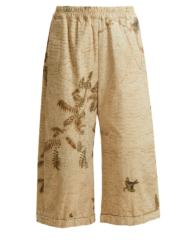 By Walid Hazy-jungle Print Cotton-canvas Wide-leg Trousers In Beige Print