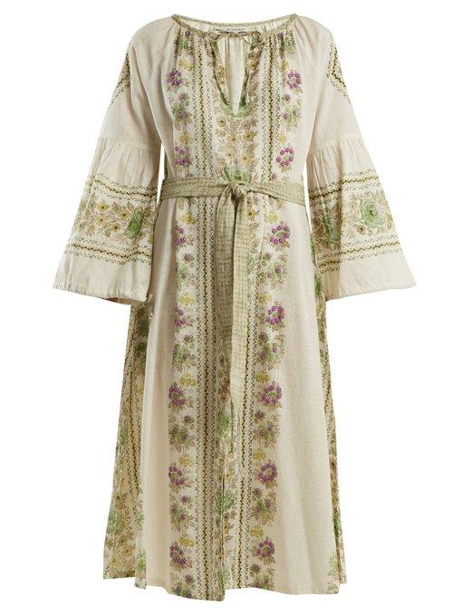 D'ascoli Flamenco Floral-print And Embroidered Cotton Dress In Green Multi