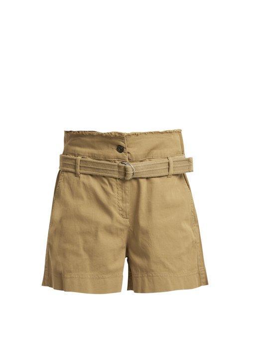 Vanessa Bruno Belted-waist Shorts In Khaki