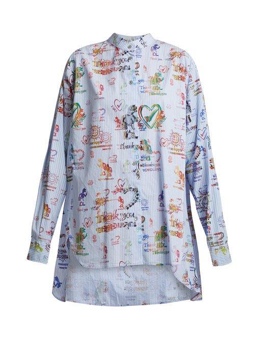 Vivienne Westwood Anglomania Grateful-print Cotton Circle Shirt In Blue Print