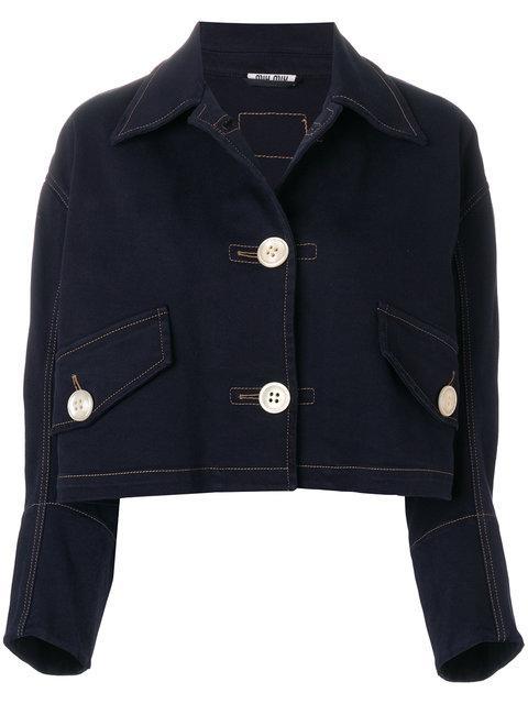 Miu Miu Cropped Denim Jacket In Blue