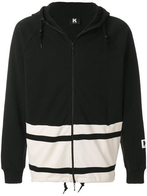 Kappa Colour Block Zip Hoodie In Black