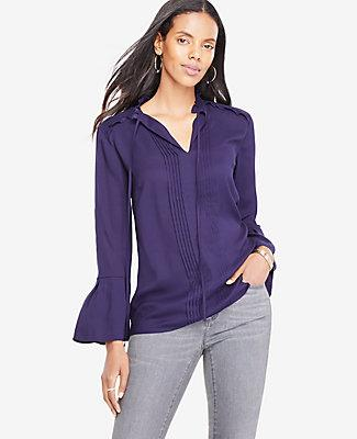 Ann Taylor Pleated Tie Neck Blouse In Pacific Indigo