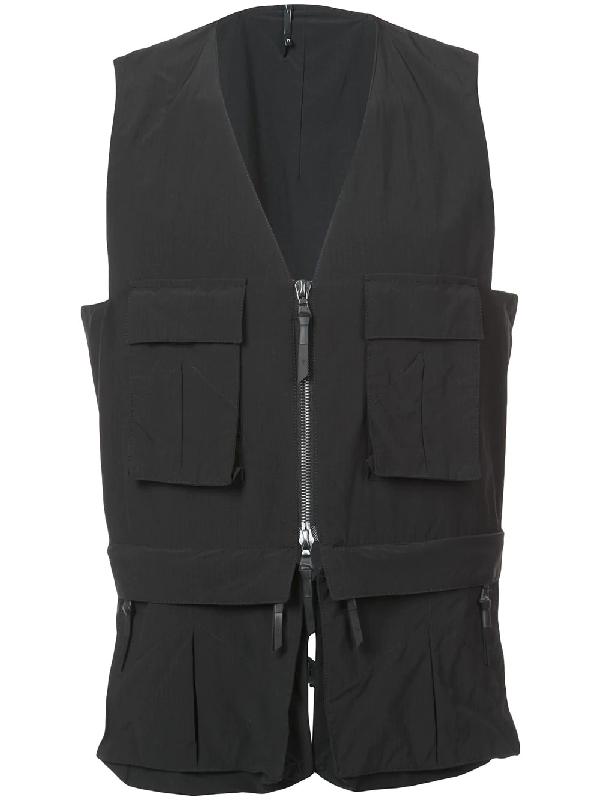 11 By Boris Bidjan Saberi Nylon Vest W/ Detachable Belt Pack In Black