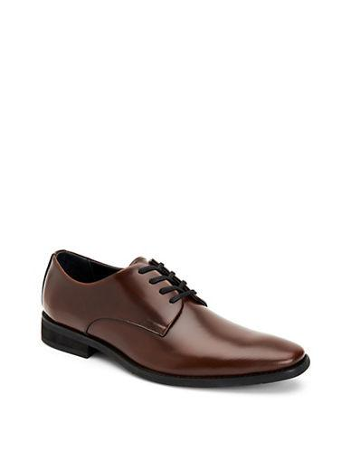 Calvin Klein Ramses Lace-up Leather Oxfords-tan