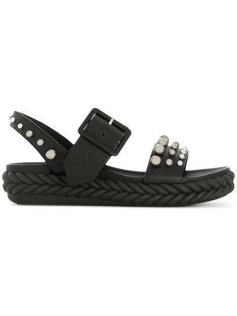 Baldinini Studded Open-toe Sandals In Black