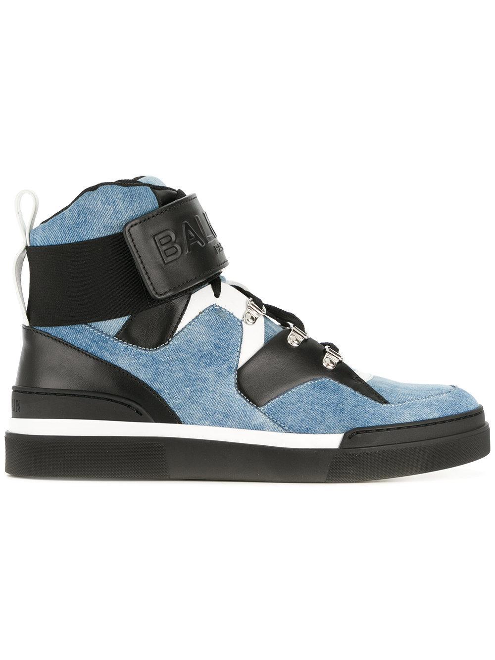 Balmain Embossed Denim Sneakers - Blue