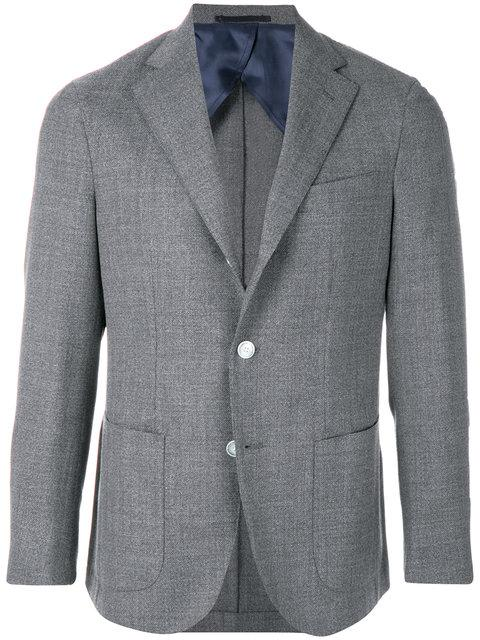Barba Fitted Button Up Blazer - Grey