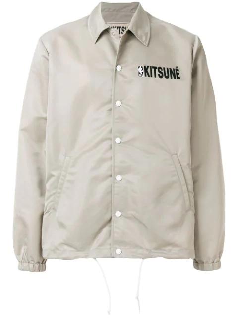 Maison KitsunÉ Maison Kitsune X Nba Hooded Coach Jacket In Grey