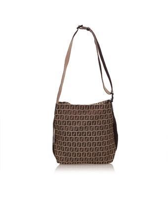 e1401ba131085 Fendi Pre-Owned  Zucchino Jacquard Shoulder Bag In Brown X Beige X Brown X