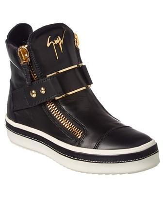 Giuseppe Zanotti Leather High-Top Sneaker In Black