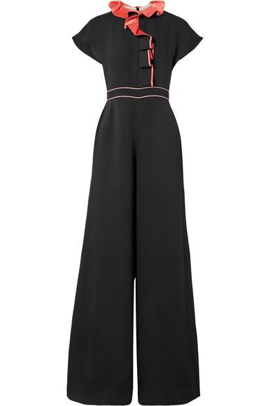 Roksanda Tristan Ruffled Silk-Georgette Jumpsuit In Black