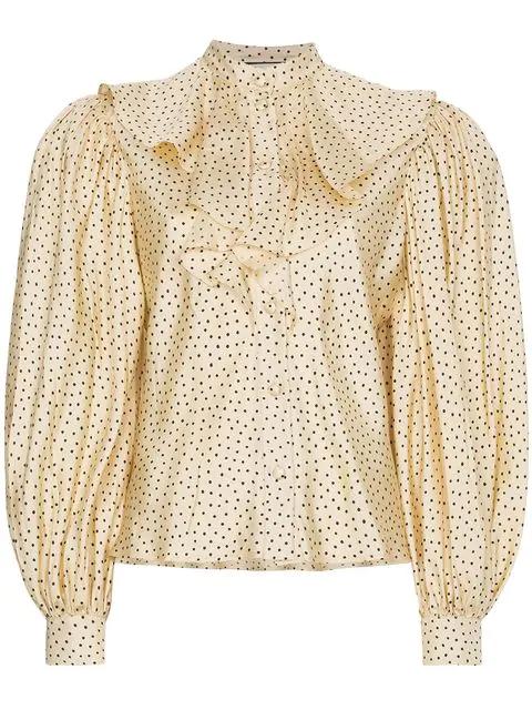 34b26572c Gucci Polka-Dot Print Silk-Twill Shirt In Neutrals | ModeSens