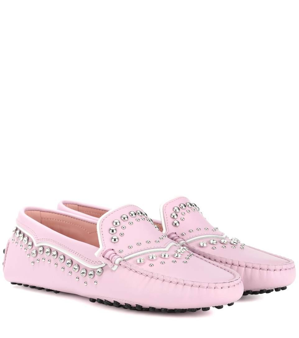 Tod's Gommino Studded Leather Loafers In Pink