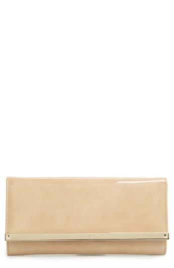 Jimmy Choo 'Milla' Patent Leather Wallet On A Chain - Beige In Nude