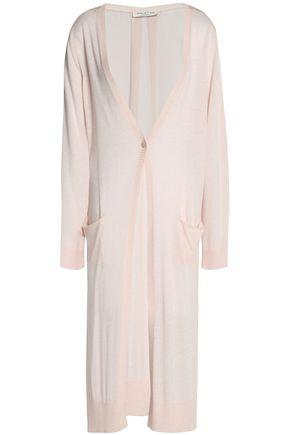 Halston Heritage Woman Chiffon-Paneled Stretch-Knit Cardigan Pastel Pink