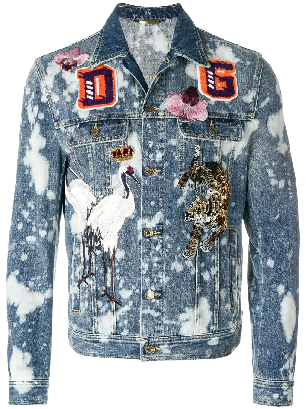 Blue Denim Embroidered Patches Jacket