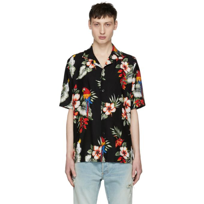 Rhude Falling For You Printed Rayon Shirt In Black
