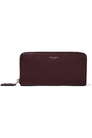 7bfc29d8d5 Classic Rive Gauche Zip Around Wallet With Monogrammed Pull In Bordeaux  Grained Leather in Purple