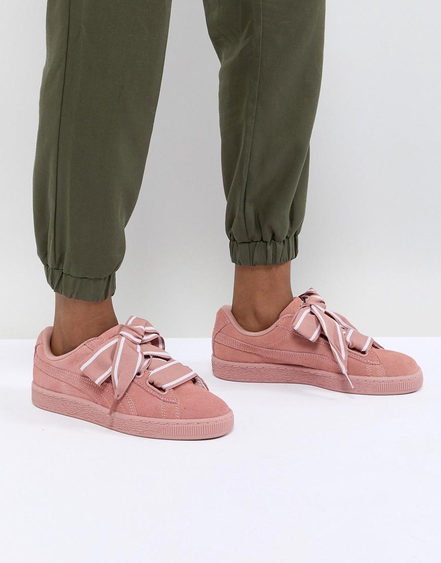 Puma Suede Heart Satin Sneaker In Pink