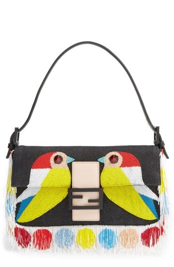 Fendi 'Bird' Beaded Baguette - Blue In Black/ Multi