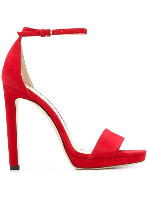 Jimmy Choo Women's Misty 120 Suede High-Heel Platform Sandals In Red