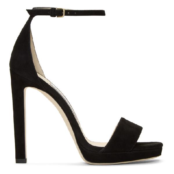 Jimmy Choo Women's Misty 120 Suede High-Heel Platform Sandals In Black