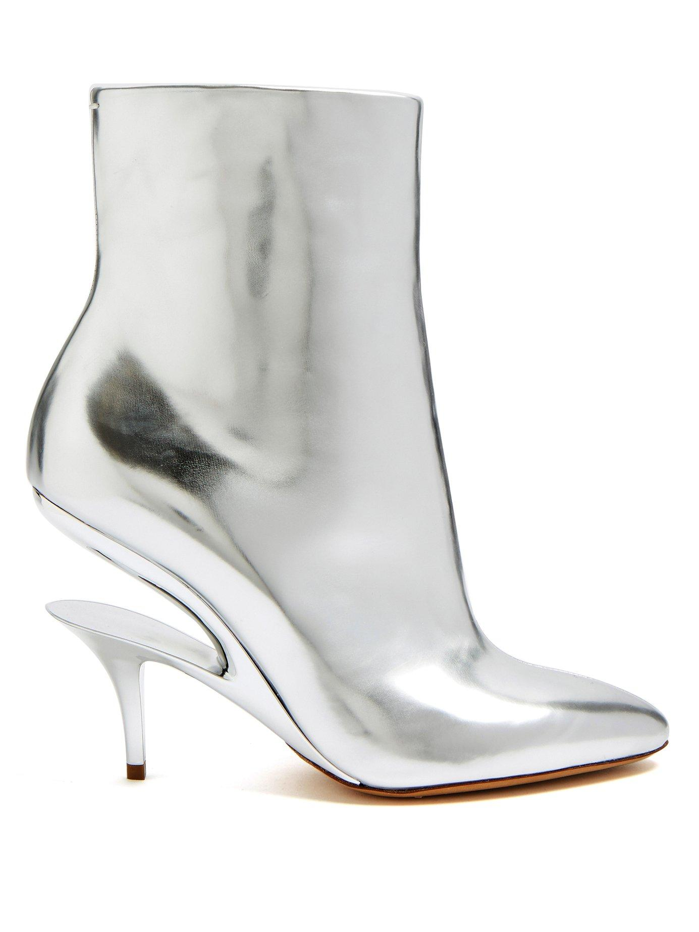 Maison Margiela Suspended-Heel Leather Ankle Boots In Metallic-Silver