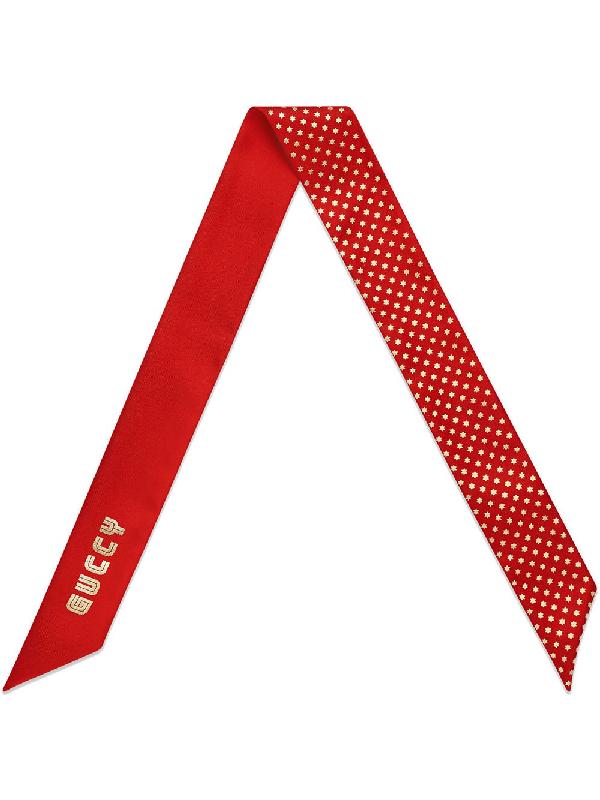 3c85d0d82 Gucci Red Guccy Logo Star Print Silk Scarf | ModeSens