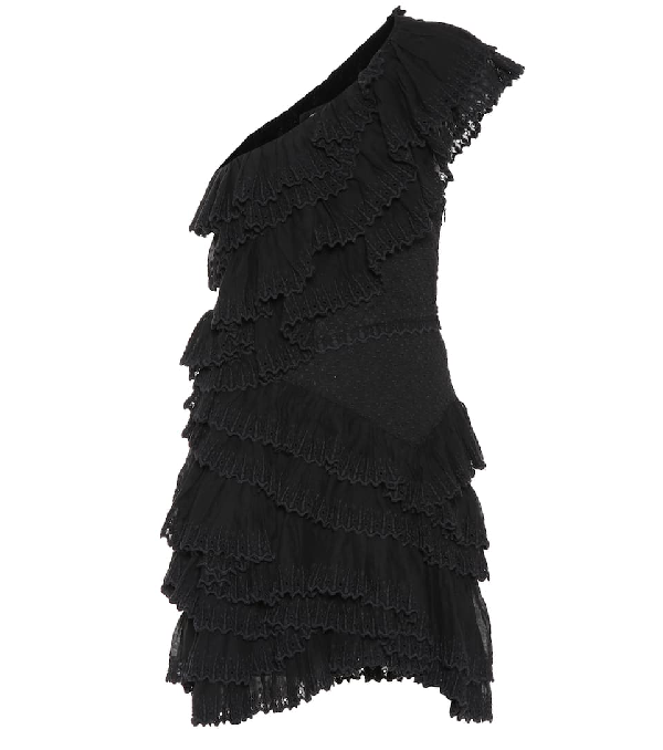 0d57ec9e4e1 Isabel Marant Jiska One-Shoulder Ruffled Broderie Anglaise Cotton Mini Dress  In Black