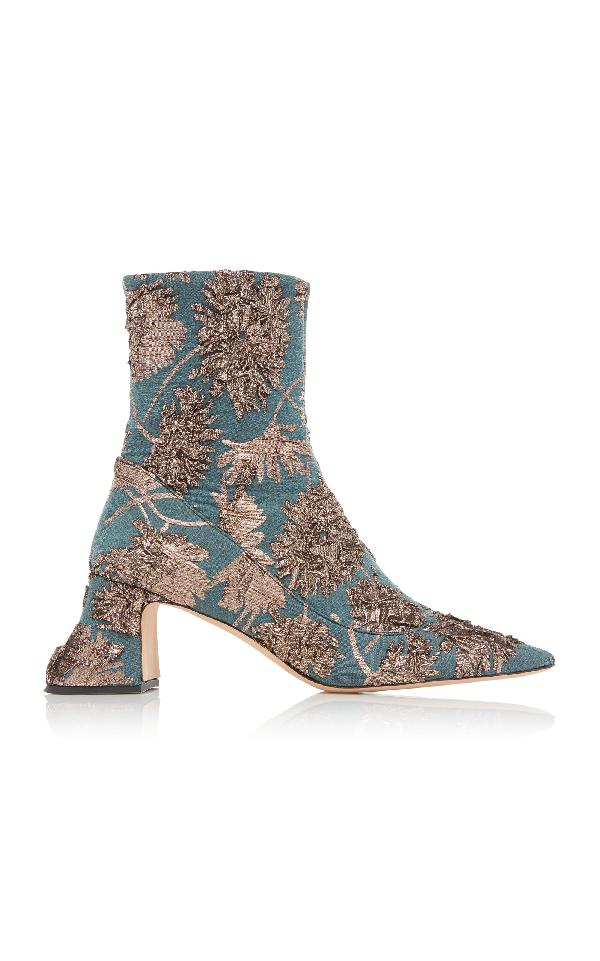 f36771452ec Rochas Metallic Silk Brocade Ankle Boots