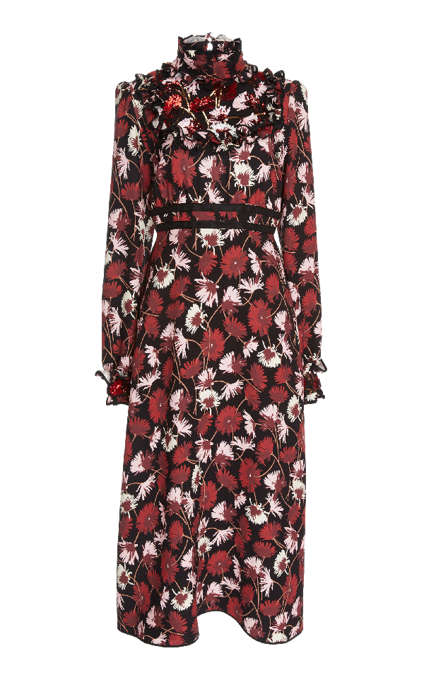 Rochas Floral Cady Midi Dress