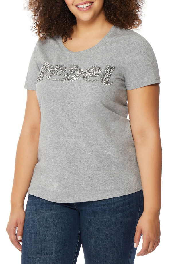 9ddb1d7f Rebel Wilson X Angels Fitted Scoop Neck Tee In Light Heather Grey ...