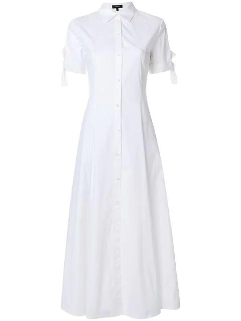 9a1219b61ba Theory Tie Sleeve Shirt Dress In White | ModeSens