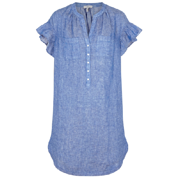 Joie Fermina Ruffle-Trimmed Chambray Dress In Blue