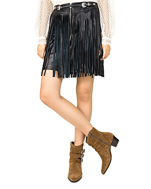 5b45507fae70aa The Kooples Fringed Leather Skirt In Black | ModeSens