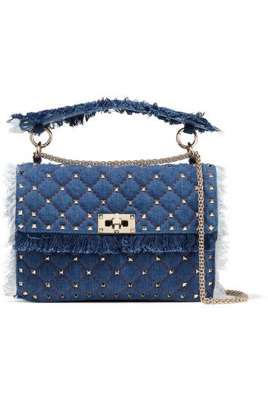 06daf48e6f Valentino Rockstud Spike Medium Fringe Denim Shoulder Bag In Blue ...