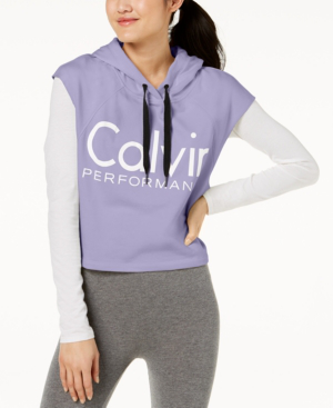 Calvin Klein Performance Logo Cropped Hoodie In Iris Ice