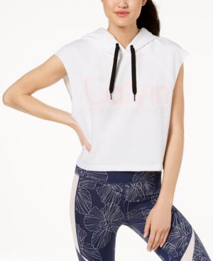 Calvin Klein Performance Logo Cropped Hoodie In White