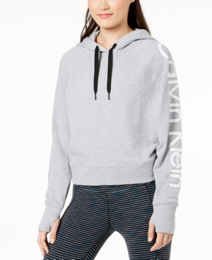 Calvin Klein Performance Relaxed Logo Hoodie In Pearl Grey Heather