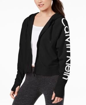 Calvin Klein Performance Zip Cropped Hoodie In Black
