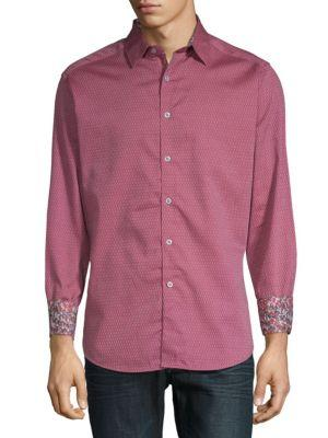 Robert Graham Hess Printed Cotton Button-down Shirt In Red