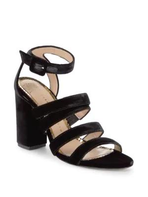 Charlotte Olympia Block Heel Ankle Strap Sandals In Black
